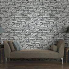 Arthouse VIP Moroccan White Stone Wall Brick Rustic Wallpaper 623009 3D Effect