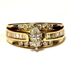 14k yellow gold .99ct marquise diamond engagement ring band 5.5g