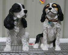 More details for large sitting tri coloured black brown white cavalier king charles staue