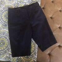 TALBOTS The Perfect Short Navy Blue Bermuda Womens Shorts Size 4 Flat Front