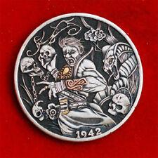 Hobo nickel #20-064/1942 walking liberty / K24 Gold & Copper inlay/David HJ. He