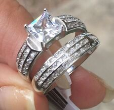 Sterling Silver Band Wedding Set Womens Engagement Simulated Diamond .925