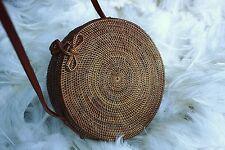 Round Rattan Bag, Summer Woven ATA Handbag, Bohemian Straw Handbag, Handmade