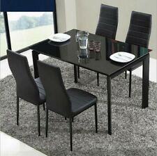 Black/White Glass Dining Table and 4 Padded Chairs Set Home Kitchen Furniture
