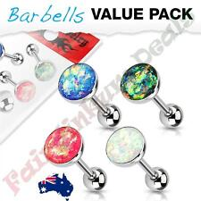 Glitter Opal Top 4 Piece Value Pack 316L Surgical Steel Tongue Ring Barbell With