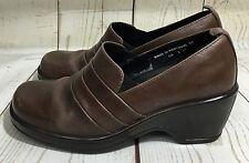 Dansko Aubrey Brown Pleated Wedge Heel Shoes Size 37 US 6.5/7