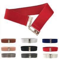 Women Cinch Silver Hook Buckle Wide Stretch Elastic Waist Belt Waistband