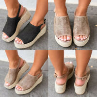 New Women's Peep Toe Ankle Strap Espadrille Sandal Shoe Med Wedge Platform Heel