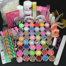 Nail Art Full Kit Acrylic Liquid Powder Brush Buffer Glitter Strips DIY Tool Set