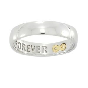 """Sterling Silver and 9ct Gold Ladies Commitment Ring. """"Forever"""" 4mm Band Width"""