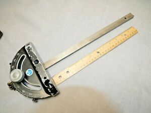 "USED Delta Miter Gauge for Table Saw Aluminum gauge block 3/4"" steel slide rail"