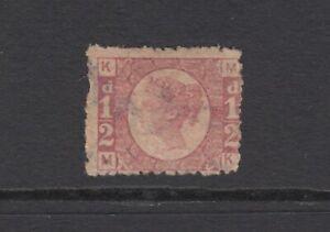 "GB QV 1/2d Rose SG49 Plate 8 Halfpenny Bantam ""MK"" 1870 Used Stamp - Faults"