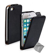 Housse etui coque pochette PU cuir fine pour Apple iPhone SE + film ecran - NOIR