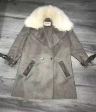 Ladies Size 10 River Island Grey Faux Suede Coat Jacket Faux Fur Collar Vgc