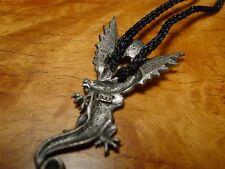 """JJ"" Jonette Jewelry Silver Pewter 'WINGED DRAGON' 28"" Cord Necklace"