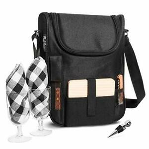 Plush Picnic - Wine Carrier Picnic Set Durable Wine Cooler Bag with Glasses W...