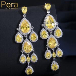 Luxury Dangle Chandelier Earrings Water Drop Stones Xmas Gifts For Her Mum Women