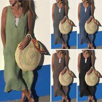 Summer Women Vintage V-Neck Solid Sleeveless Casual Cotton Linen Long Maxi Dress