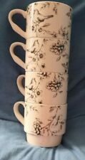 4 Black And White Stackable Cups With Birds On
