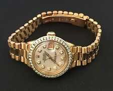 Rolex Ladies  President 18k Solid Yellow Gold Diamond Bezel  Watch