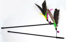 New listing Bird Colorful Feather Teaser Wand Cute Design Plastic Toy for Cats Pet Cat Toy