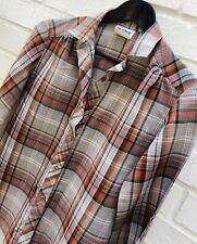 VINTAGE CHIC 60s Blouse Top School Plaid Button Up Sexy cool S/M