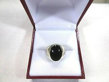 Men's Created Black Onyx Inlay Sterling Silver Dome Ring-SizeUS (10) AU (T 1/2)