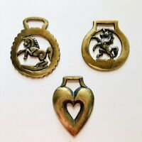 3 Vintage 1970 Brass Horse Harness Medallions~Prancing Pony/Unicorn/Double Heart
