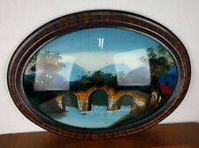 VTG Reverse Oriental Asian Painting Glass Scenery Bridge House Trees Art Decor