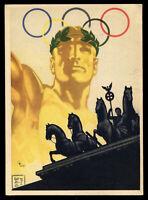 1936 Germany 3rd Reich Postcard German WWII Hitler Era Olympic Games Berlin Used