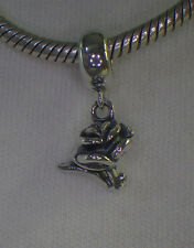 UNBRANDED ANTIQUE 925 STER SILVER ROSE PETAL DANGLE SUMMER EUROPEAN BEAD CHARM