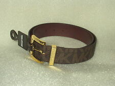"New Michael Kors Faux Leather Chololate Logo 1.5"" Belt  Fast Free Shipping"