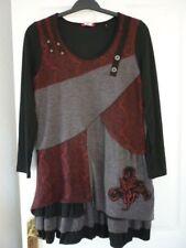 Joe Browns schwarz grau wein Lagenlook Sammelsurium Kleid UK 12, EUR 40, US 8. Fab Con