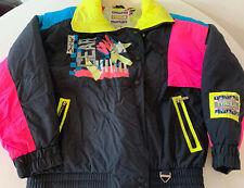 Vintage TYROLIA Ski Jacket Women's Size 8 Black & Neon Pink Blue Yellow Snowgear