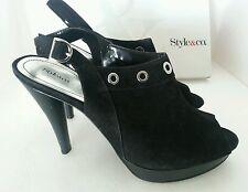 Style & Co. NEW size 11 M Gelatos Black Suede Leather Slingbacks Pumps Heels