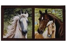 """Running Free"" Horses Cotton Fabric Quilt Panel"
