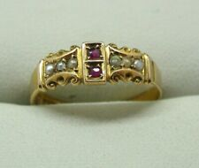 Beautiful Edwardian 15 Carat Gold Ruby And Pearl Ring Size Q.1/2