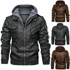 Denzell верхняя одежда анархист кожаная куртка с капюшоном пальто мотоцикл байкер стиль мужчины
