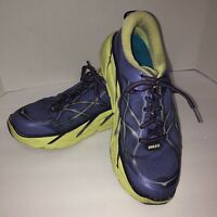 Hoka One One Clifton 2 Womens Athletic Running Shoes sz 10 Purple Green Lace Up