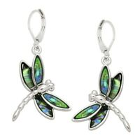 Dragonfly Fashionable Earrings - Leverback - Abalone Paua Shell