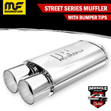 """14807 - 2.25"""" In/ Twin 4"""" Out 5""""x8""""x14"""" Long - Stainless Magnaflow Muffler"""