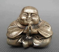 COLLECTIBLE HANDWORK OLD SILVER COPPER CARVE BUDDHA BLESS STATUES