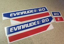 Evinrude Outboard Motor Vintage Decal Kit 20 HP FREE SHIP + FREE Fish Decal!