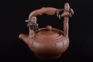 P8617: Chinese Brown pottery Landscape Kanji sculpture TEAPOT Kyusu Sencha, auto