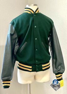 NWT Authentic HOLLOWAY Letterman Varsity Jacket - Leather and Wool - XS