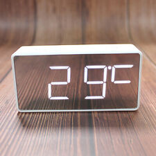 Table Alarm Clock LED Digital Bedside Clock USB Port/Battery Operated Gift White