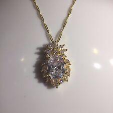 PE 34 Large Gold gf Sim Diamond White Sapphire Pendant Chain Necklace PlumUK BOX