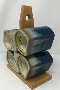 Set of 4 Blue Padilla Drip Glaze Signed Stonewear Ceramic Mug w/ Tree Stacking