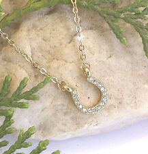HORSE & WESTERN JEWELLERY JEWELRY LADIES  CRYSTAL  HORSESHOE NECKLACE GOLD