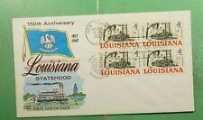 DR WHO 1962 FDC LOUISIANA 150TH ANIV #1197 FLUEGEL CACHET BLOCK g14978